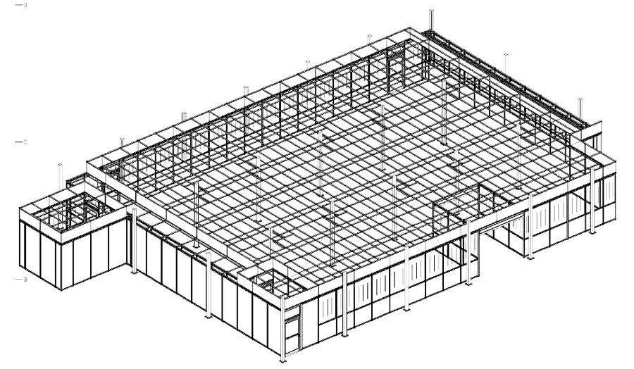 Cleanroom layout using 3D software for clean room design