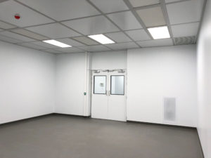 Puracore cleanroom walls and drop-in grid ceiling
