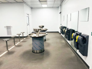 Gowning and wash room