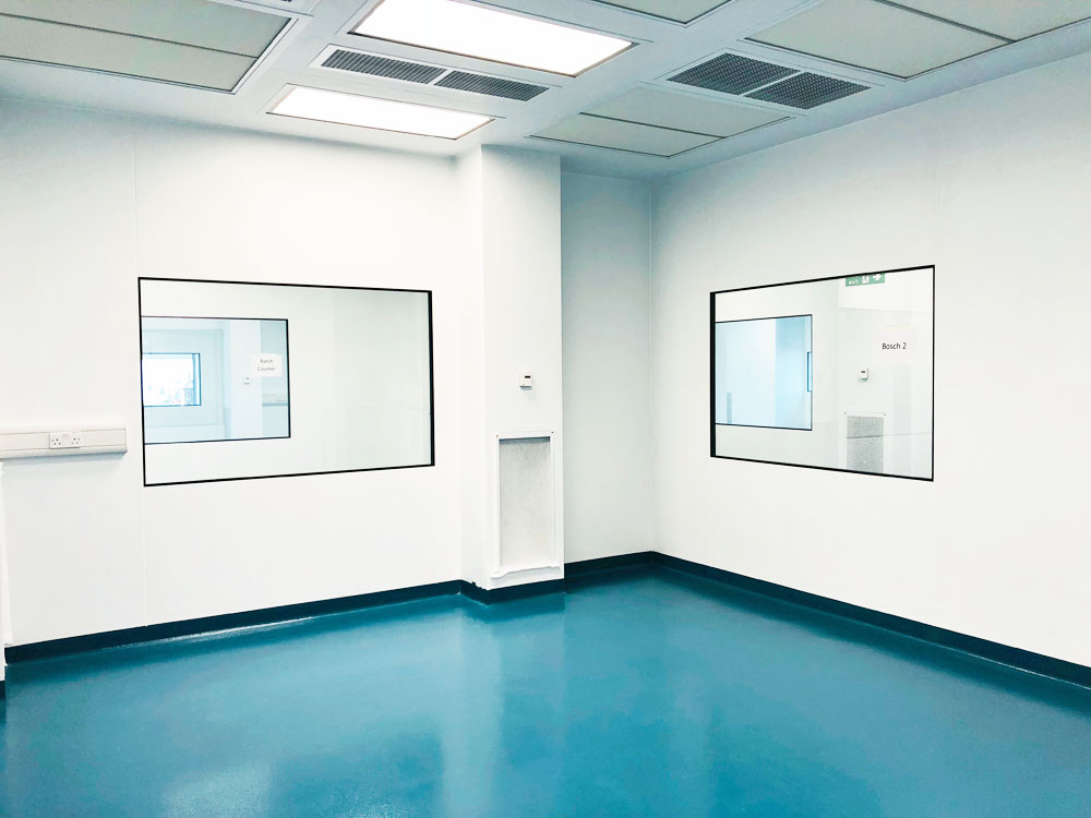 Cleanroom Finish showing walls, floor and ceiling