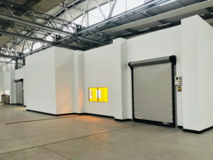 Puracore fully flush wall panels and speed-door