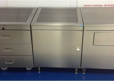 Stainless steel general workshop or cleanroom lockers with integrated storage, lockable drawers or perforated tops